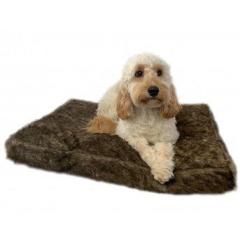 Brown faux fur pet bed